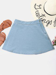 Flared Denim Skirt - Baby Blue L