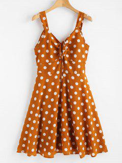 Polka Punkt Rücken Knoten Cinched Kleid - Biene Gelb S