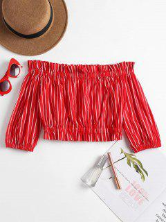 Off The Shoulder Striped Cropped Blouse - Red S