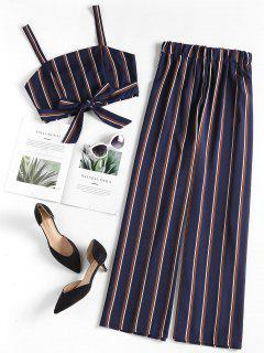Striped Crop Top Palazzo Pants Matching Set - Denim Dark Blue S