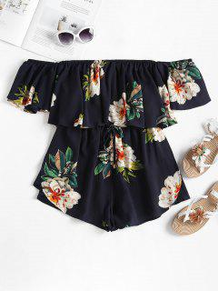 Floral Ruffle Off The Shoulder Romper - Lapis Blue M