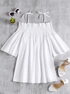 Smoked A Linie Schulterfreies Kleid - Weiß