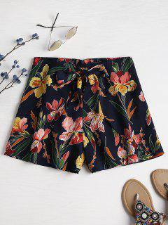 Wrap Tie Front Floral High Waisted Shorts - Deep Blue L