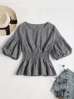 Balloon Sleeve Gingham Peplum Blouse - Multi L