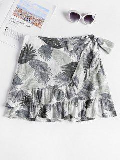 Tropical Ruffles Mini Skirt - White L