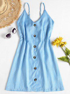 Contrast Button Front Striped A Line Mini Dress - Deep Sky Blue L