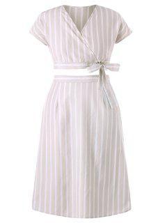 Plus Size Stripes Skirt Set - Beige L