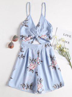 Combishort En Camisole à Imprimé Floral Et Torsadé Devant  - Bleu Ciel Léger  Xl