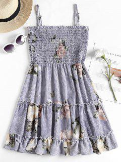 Smocked Ruffles Slip Dress - Blue M