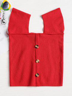 Contrast Buttons Square Neck Knit Top - Red S