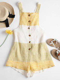 Buttoned Contrast Romper - Sun Yellow Xl