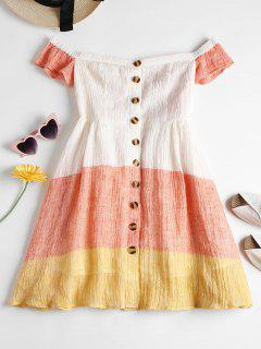 Button Up Off Shoulder Dress - Orange Pink L