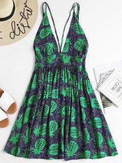 Vestido Estampado Sin Espalda De Piña - Multicolor S