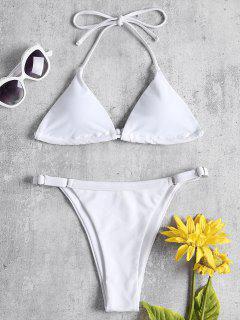 Adjustable String Thong Bikini - White L