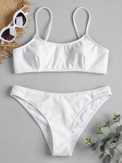 Spaghetti Riemchen Gerippter Texture Bikini - Weiß M