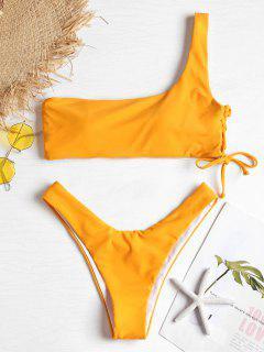 Eine Schulter Schnürung Bikini Badeanzug - Melone S