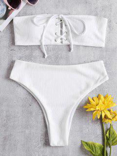 Gerippte Schnürung Hoch Taillierter Bikini-Set - Weiß M