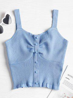 Pearly Button Ruched Knit Tank Top - Light Sky Blue