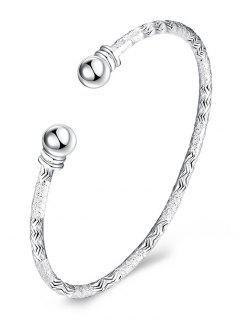 Sterling Silver Grind Bangle Cuff Bracelet - Silver