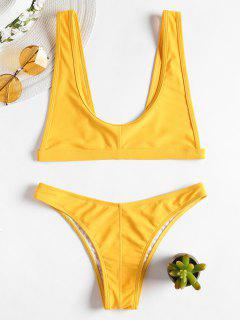 Bikini à Bretelles Et Encolure Dégagée - Jaune Canard Caoutchouc M