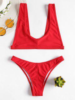 Bikini à Bretelles Et Encolure Dégagée - Rouge Lave M