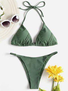 Drawstring Halter String Bikini - Hazel Green L