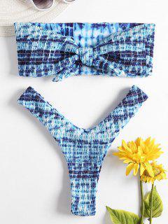 Bandeau Tie Dye Smocked Bikini Set - Multi S