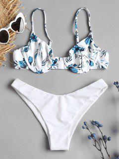 Bikini De Contraste De Corte Alto Con Estampado Floral - Blanco S