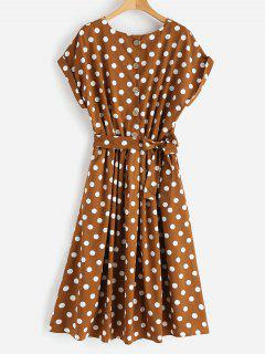 Half Buttoned Polka Dot Midi Dress - Red Dirt L