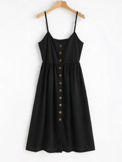 Cami Button Up Casual Dress - Black L