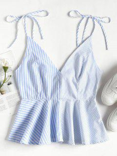 Contrast Striped Panel Peplum Cami Top - Sea Blue S