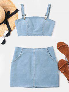 Crop Sleeveless Denim Skirt Set - Baby Blue L