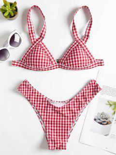 Bikini Vichy Taille Haute à Cordon  - Rouge L