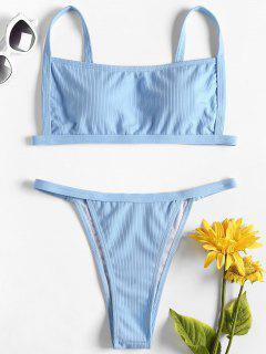 Square Neck Ribbed Bikini - Light Sky Blue L