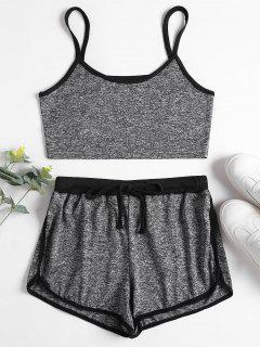 Marl Cami Top Dolphin Shorts Two Piece Set - Dark Gray M