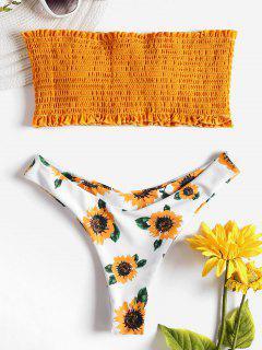 Sunflower Shirred Bikini Set - School Bus Yellow S