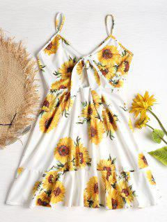 Tie Front Sunflower Print Mini Dress - White M