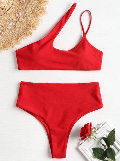 Eine Schulter Hohes Bein Bikini - Feuerwehrauto Rot L
