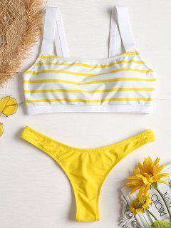Streifen Niedrige Taille Bikini - Gelb L