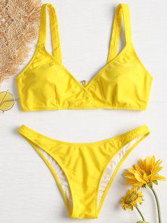 Niedrige Taille Bikini - Niedliches Gummi Gelb M