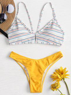 Niedrige Taille Streifen Bikini - Goldgelb L