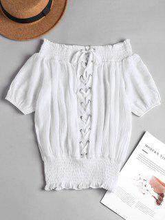 Lace Up Smocked Off The Shoulder Top - White S