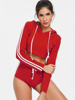 Crop Top Hoodie And Shorts Sweat Suit - Red M