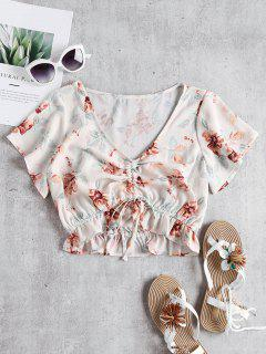 Floral Cinched Crop Top - Beige L