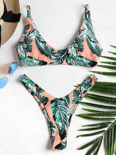 Bikini Jambes Hautes Imprimé De Feuilles De Palme   - Multi-j L