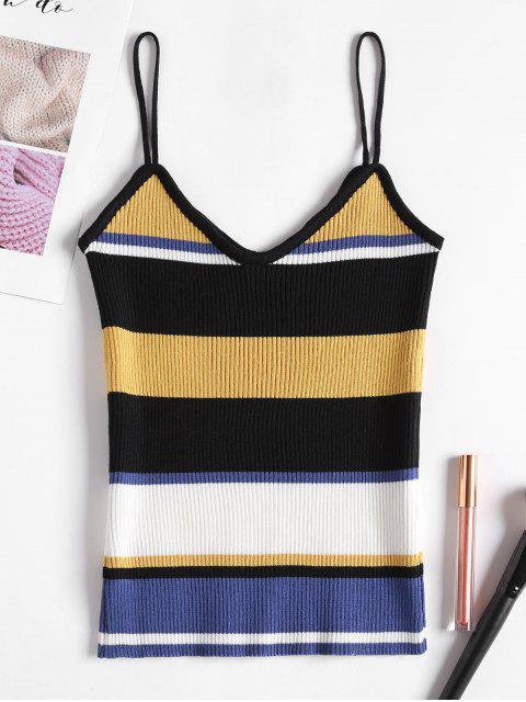outfits Ribbed Stripes Tank Top - SUN YELLOW ONE SIZE Mobile