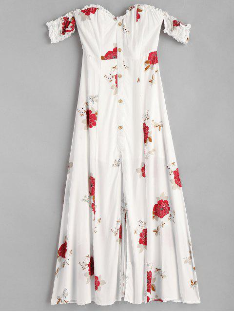 hot Slit Off Shoulder Floral Dress - WHITE S Mobile