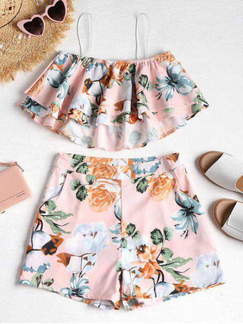 unique Ruffle Cami Top and Shorts Two Piece Set - LIGHT PINK XL Mobile