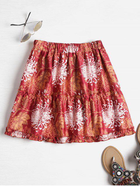 womens Chrysanthemum Print Tiered Mini Skirt - MULTI L Mobile