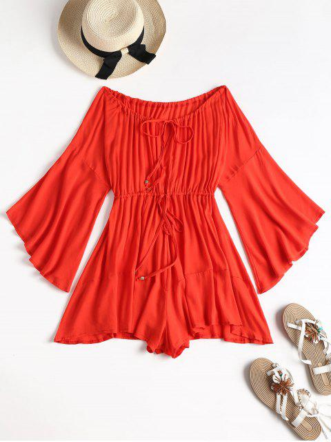 shop Off Shoulder Bell Sleeve Drawstring Romper - RED S Mobile
